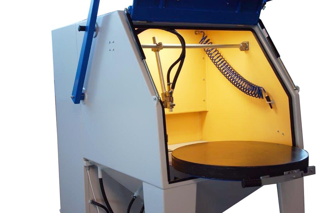 Injektor-Strahlkabine Drehteller halb herausfahrbar
